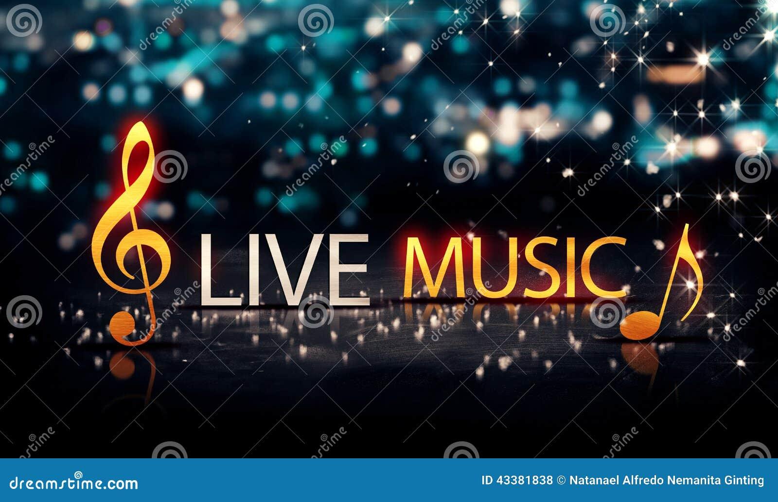 Stock Illustration Live Music Gold Silver City Bokeh Star Shine Blue B...
