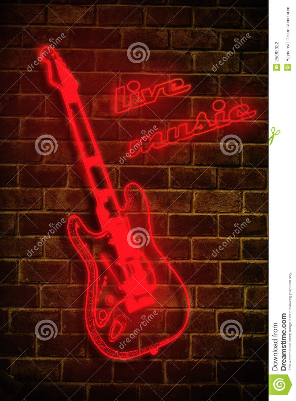 Live Music Neon Sign Stock Photography Image 25083022