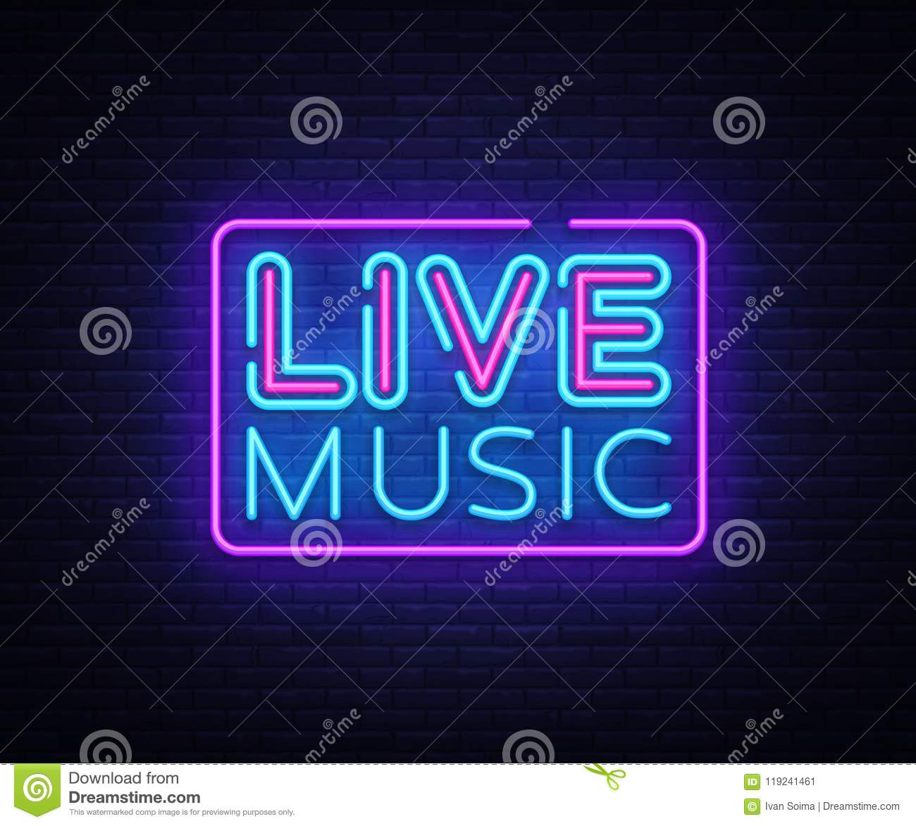Live Music neon sign vector. Live Music design template neon sign, light banner, neon signboard, nightly bright