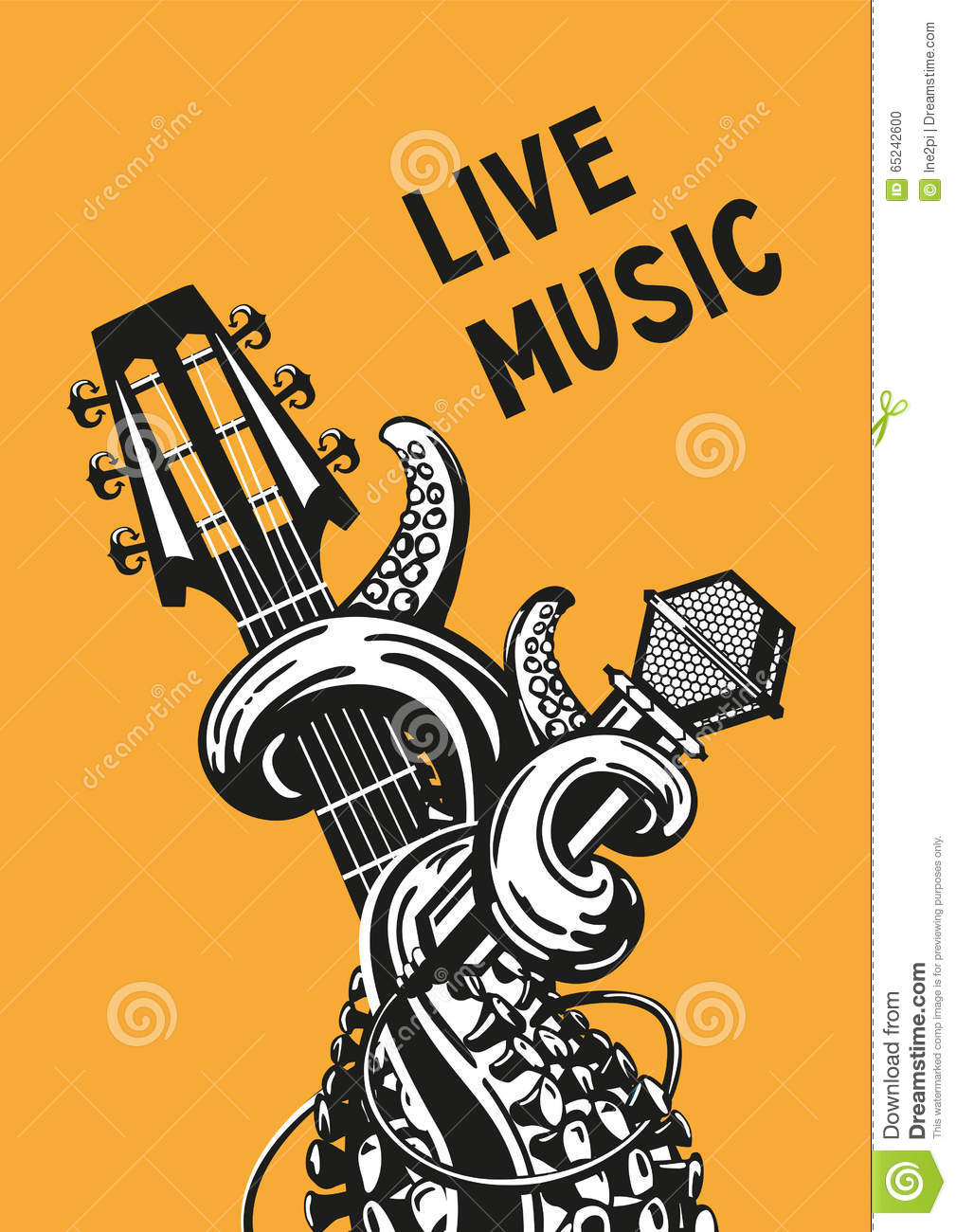 Live music poster stock vector. Illustration of guitar ...