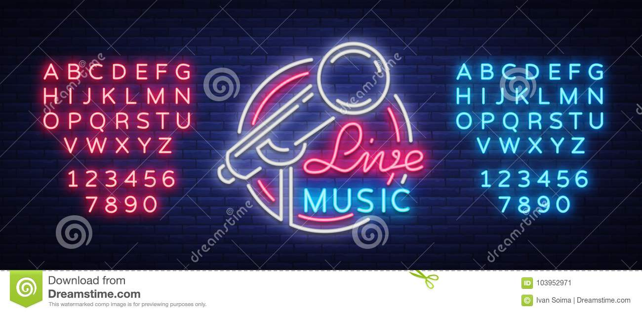 Live musical vector neon logo, sign, emblem, symbol poster with microphone. Bright banner poster, neon bright sign