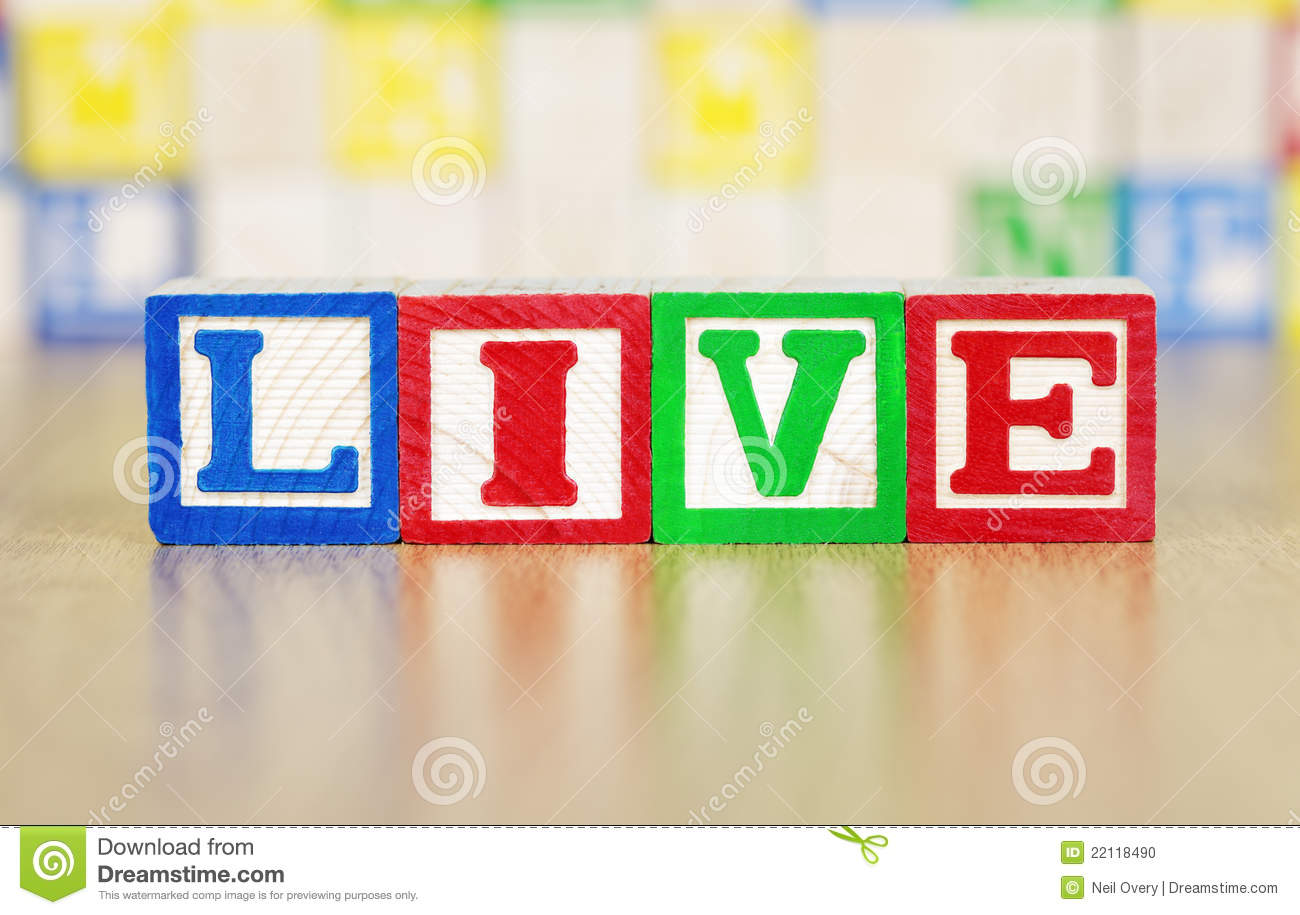 Life Spelled In Cobble : Life spelled out in alphabet building blocks royalty free