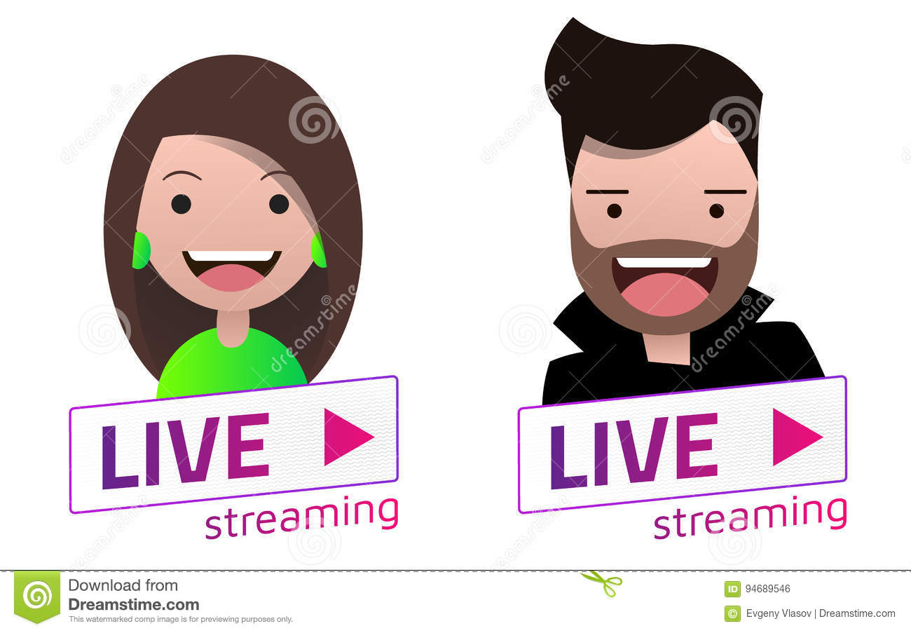 live stream sign with male and female avatar set stock vector