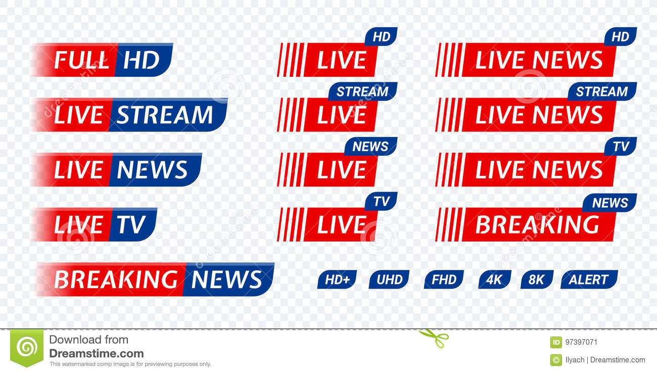 Live Stream TV News Tag Icon  Video Symbol Live Broadcasting