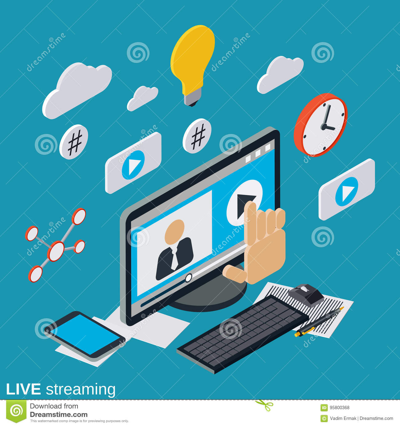 Live Streaming Internet Tv Vector Concept Stock