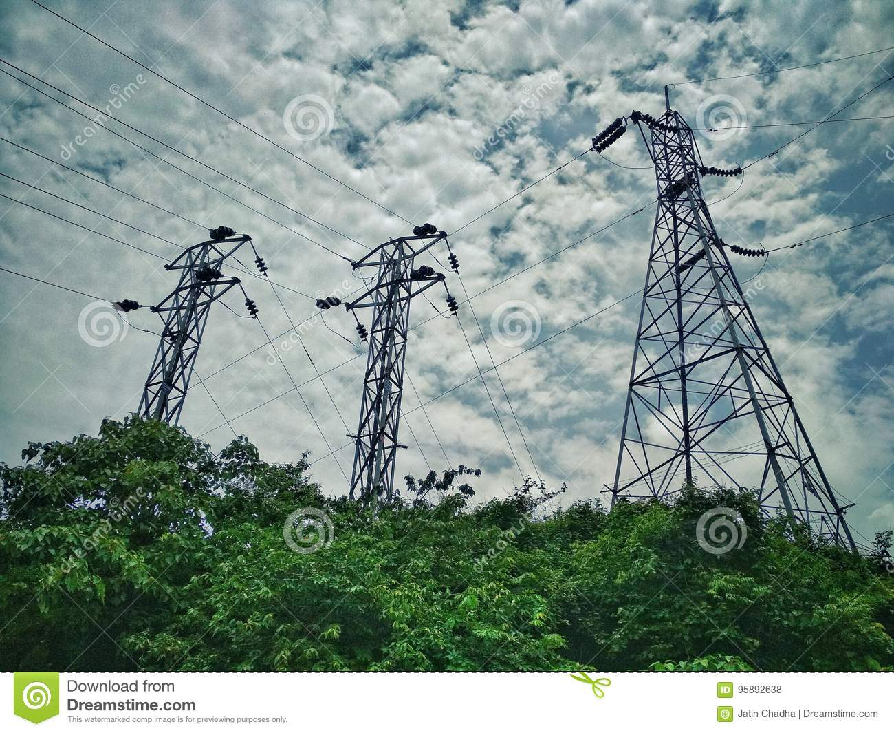 Live Wire Electricity Tower Connectivity Stock Photo - Image of ...