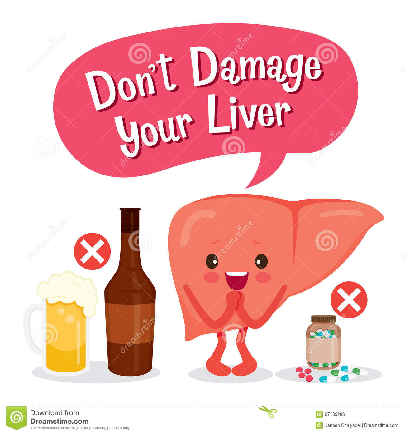liver human internal organ cartoon character stock vector