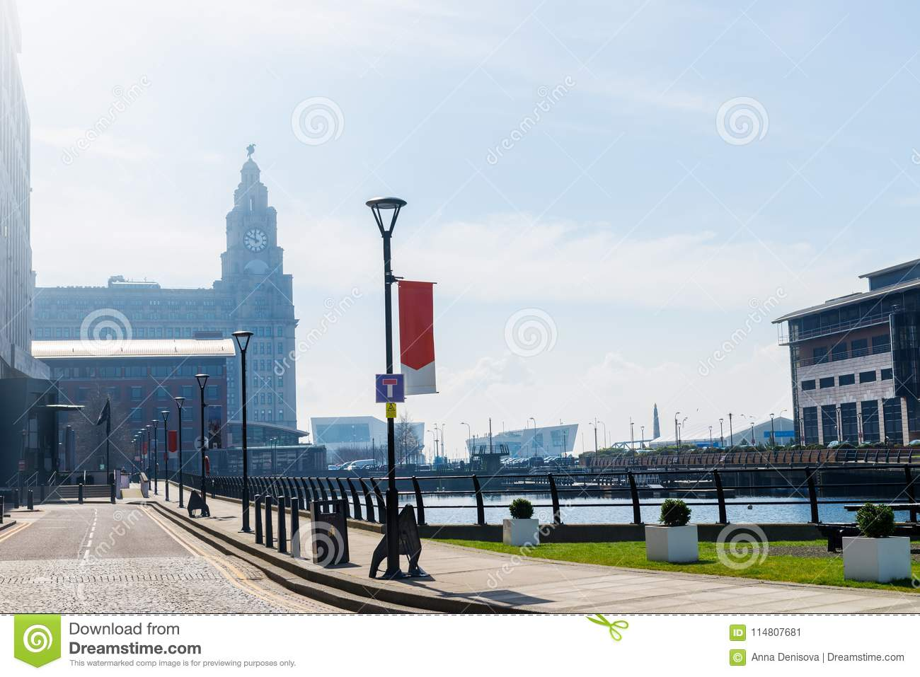 Beautiful sunny day in Liverpool, UK, different views of the cit