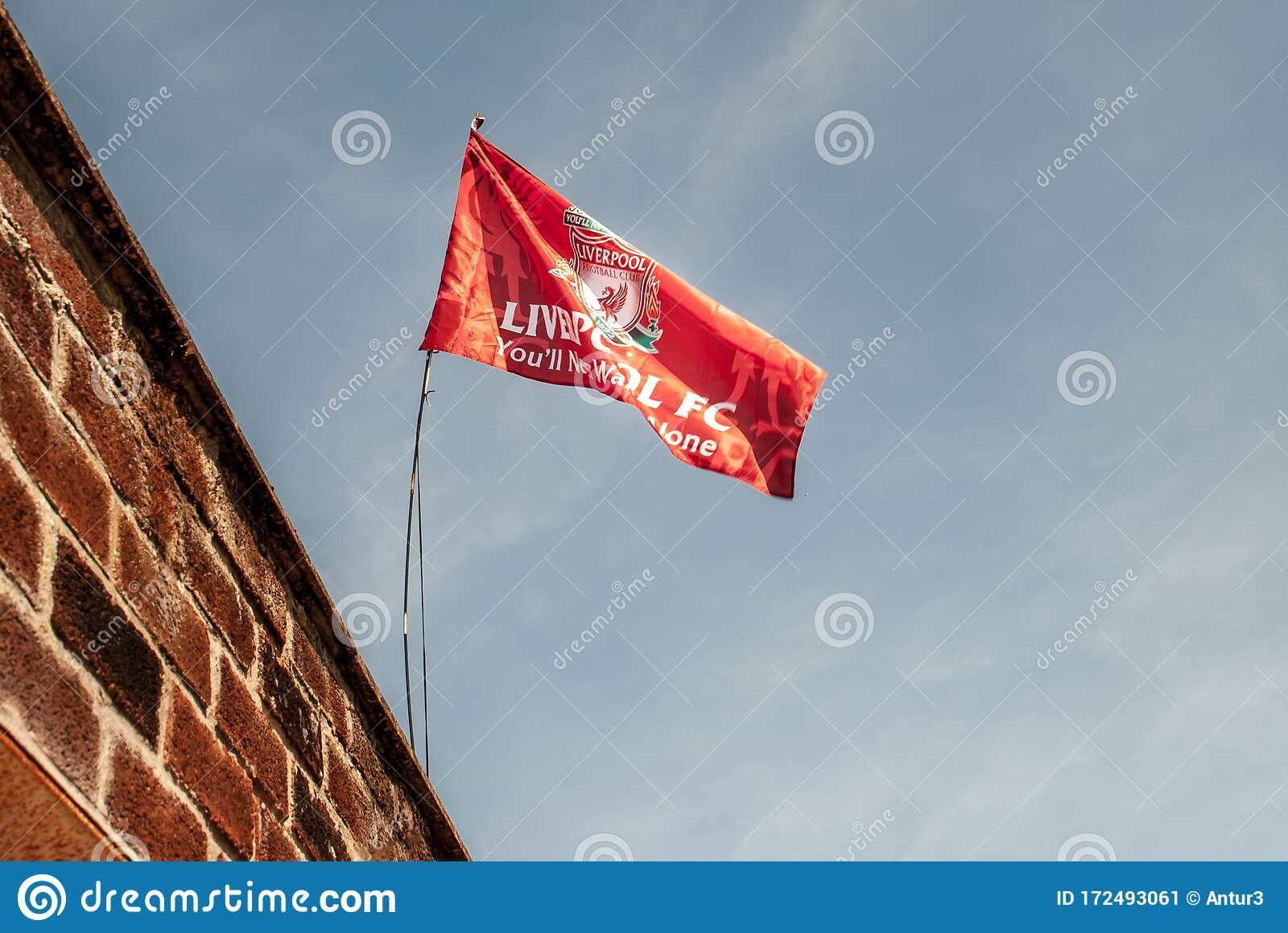 Liverpool F C Flag Waving With The Blue Sky Background Editorial Photo Image Of League England 172493061