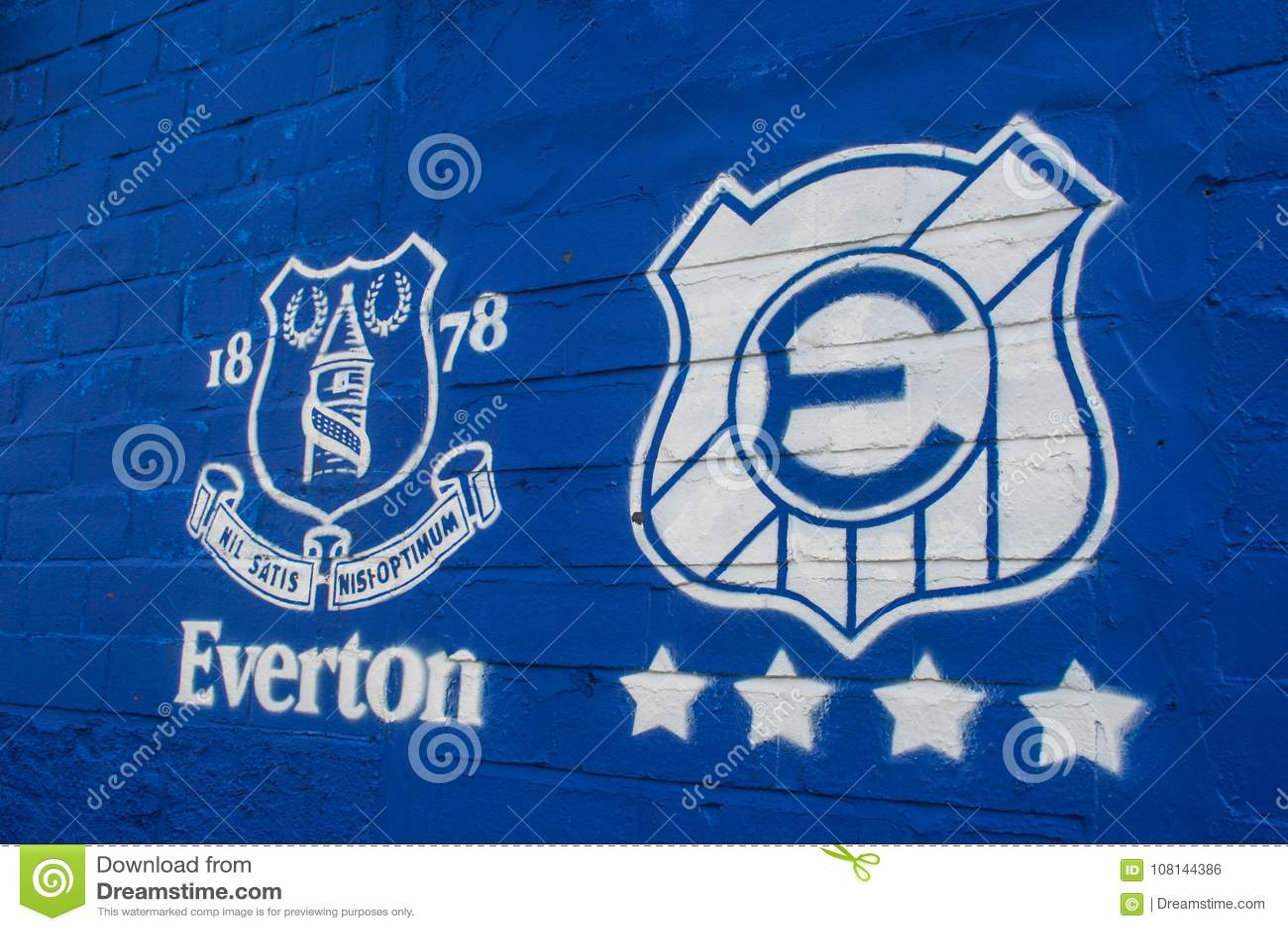 Everton Logo At The Goodison Park Stadium Editorial Photo Image Of Liverpool April 108144386