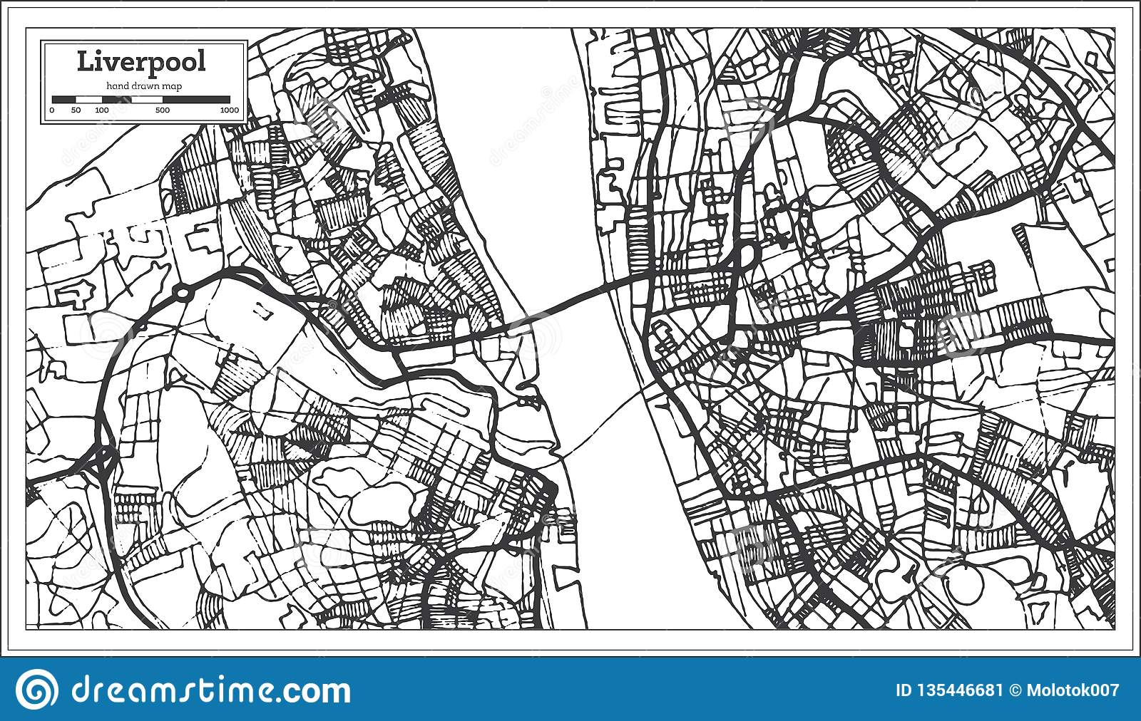 Liverpool England City Map In Retro Style. Outline Map Stock Vector ...