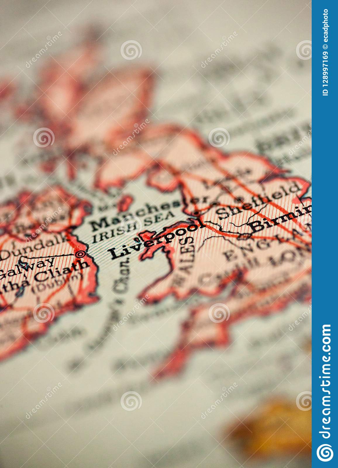 Liverpool England on map stock image. Image of vacation - 128997169
