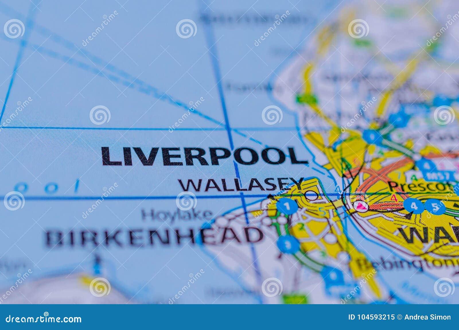 Liverpool sur la carte