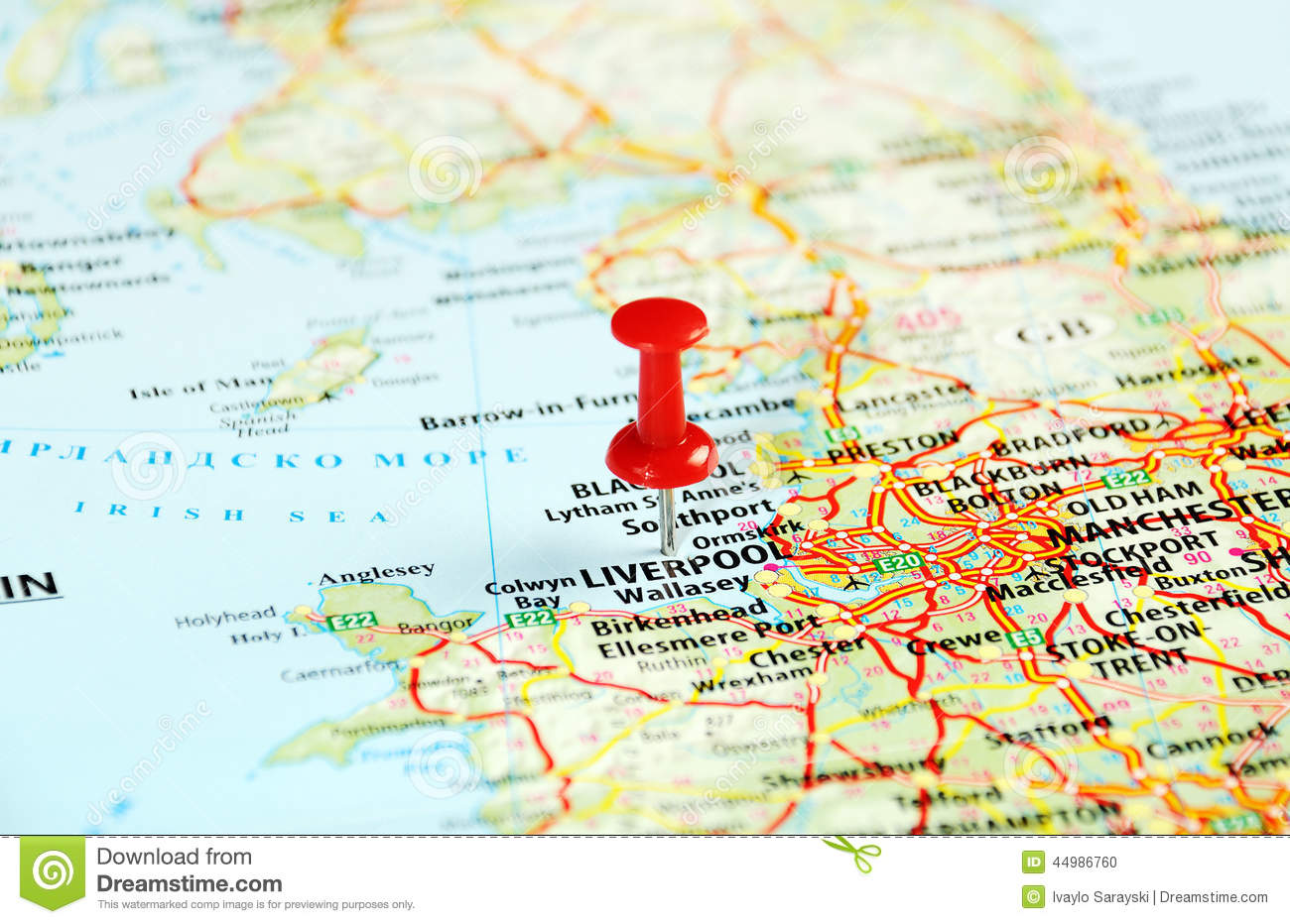 Liverpool Map Of England.Liverpool Uk Map Pin Stock Photo Image Of Atlas Route 44986760