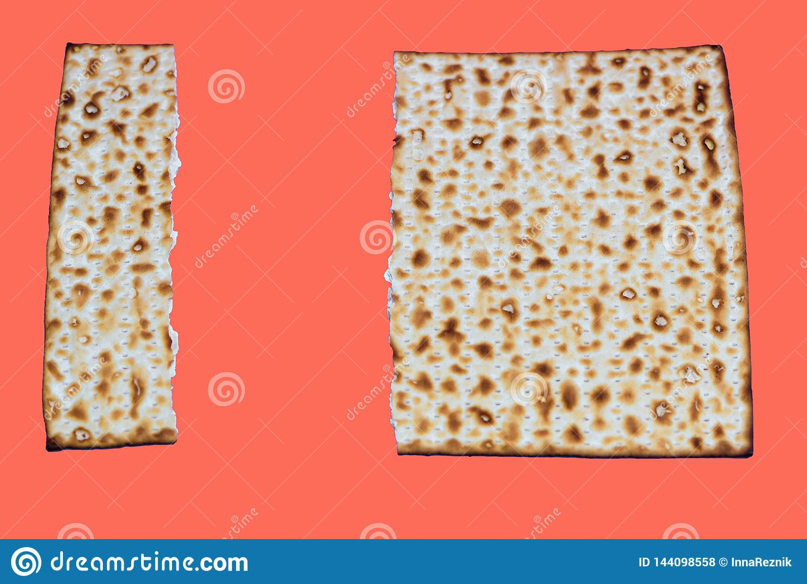 Living Coral color of the Year 2019. Matza Pesach celebration symbol on trendy color background.