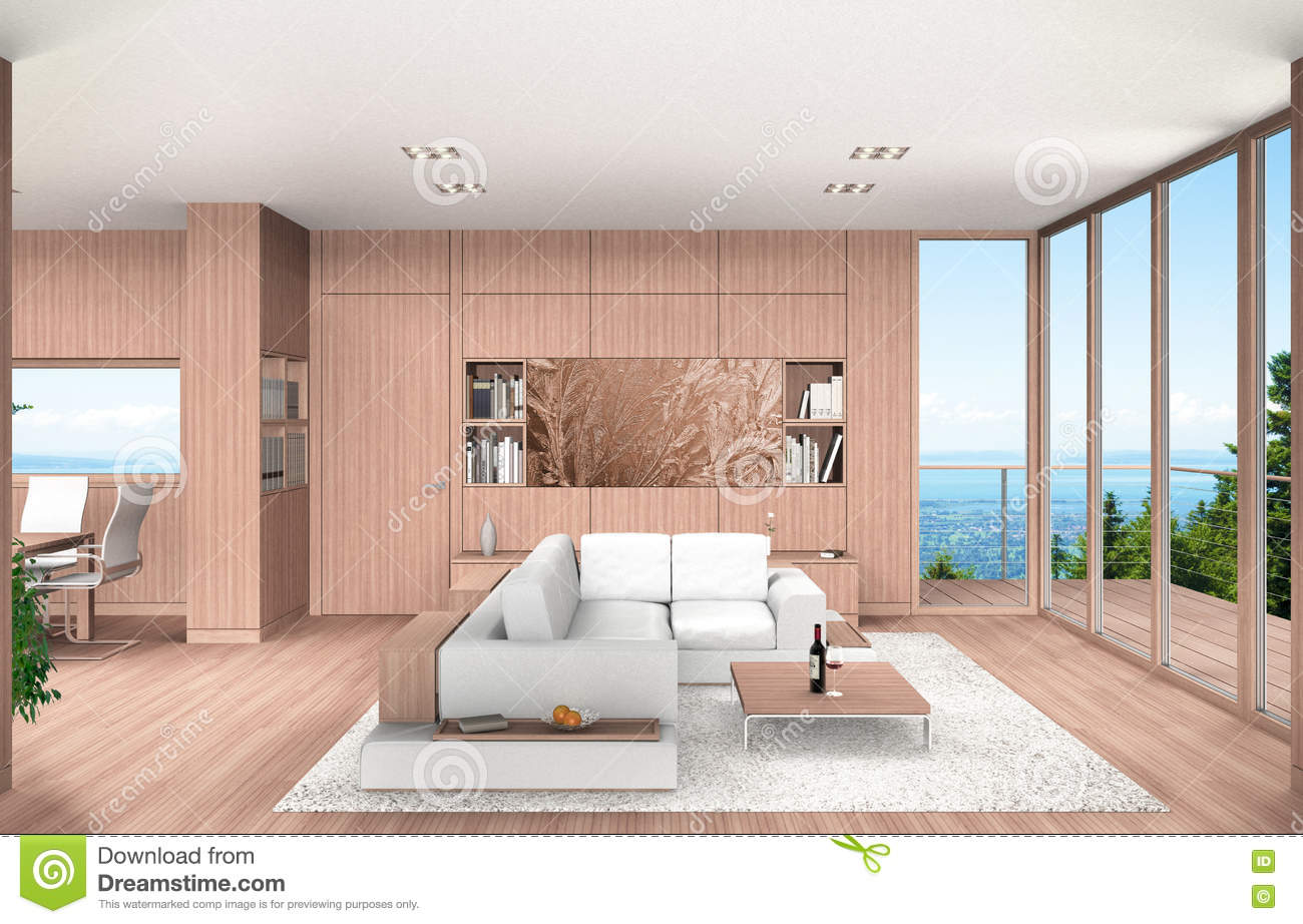 Living And Dining Room With Beech Wood Paneling Stock Illustration