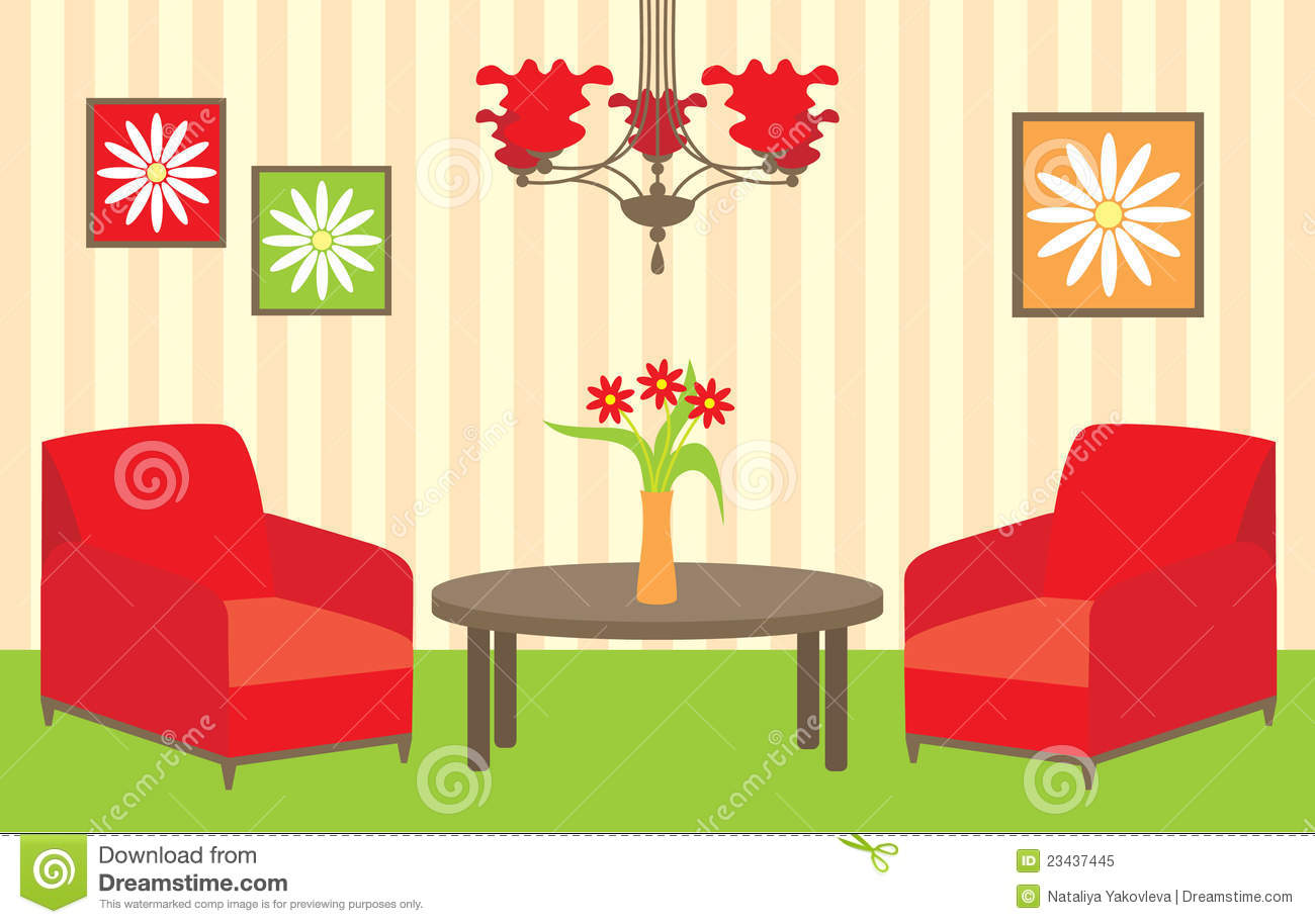 Living room stock vector illustration of indoors bright for Sala de estar animada