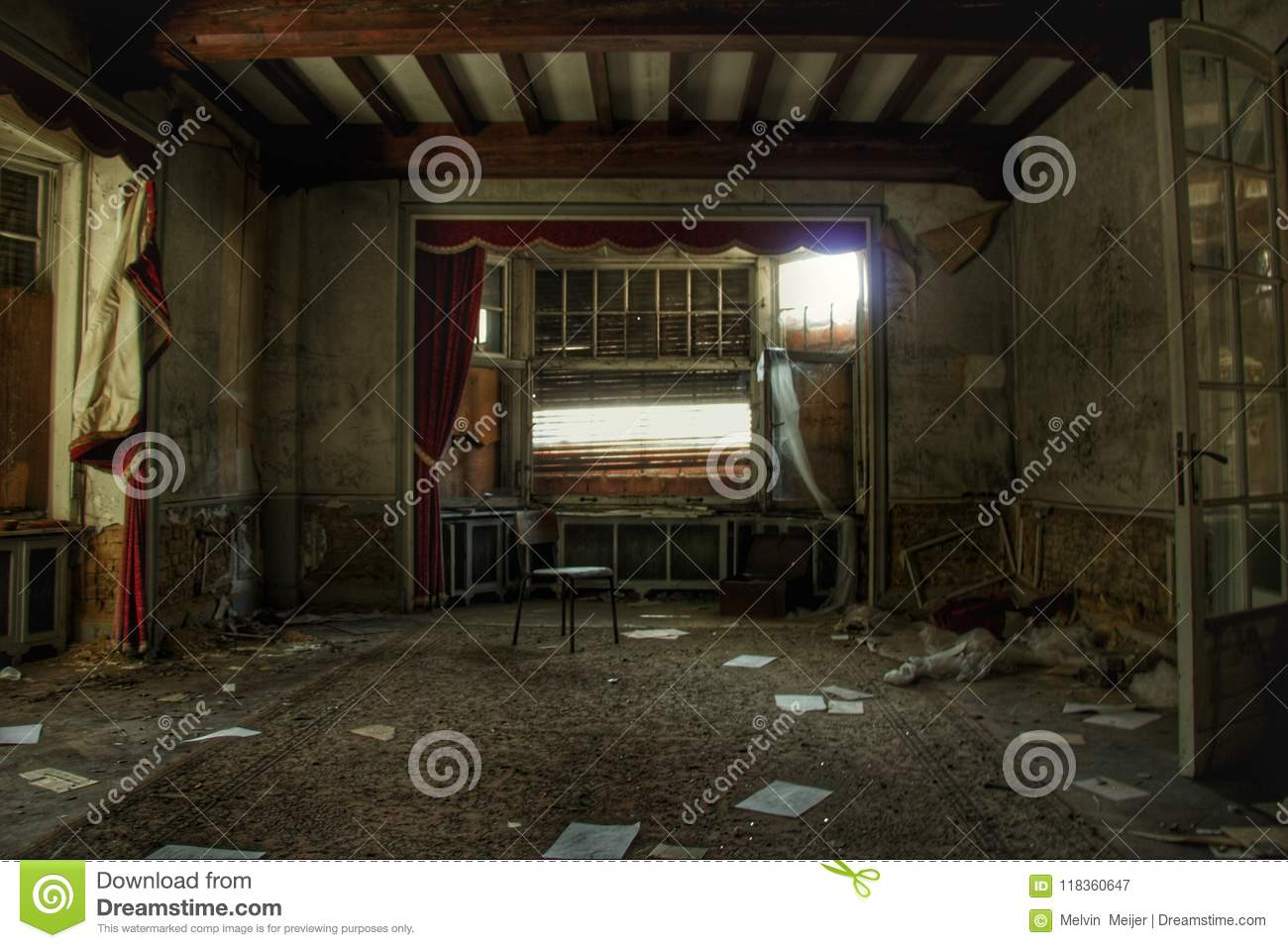 Old Destroyed Spooky Mansion In Europe Stock Image