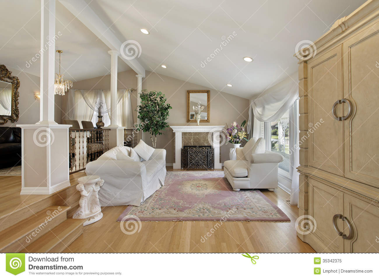Living Room With Adjoining Dining Room Royalty Free Stock