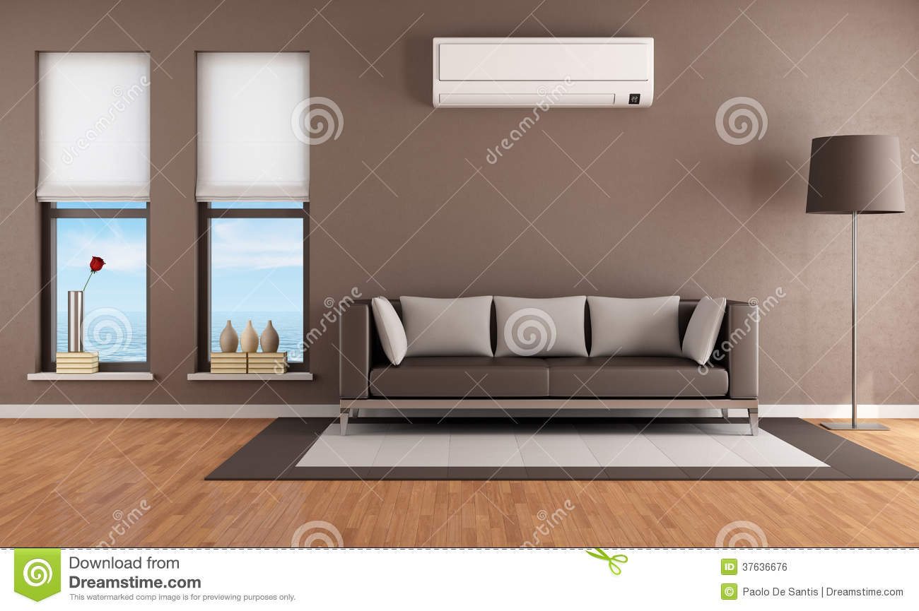 Living Room With Air Conditioner Stock Illustration