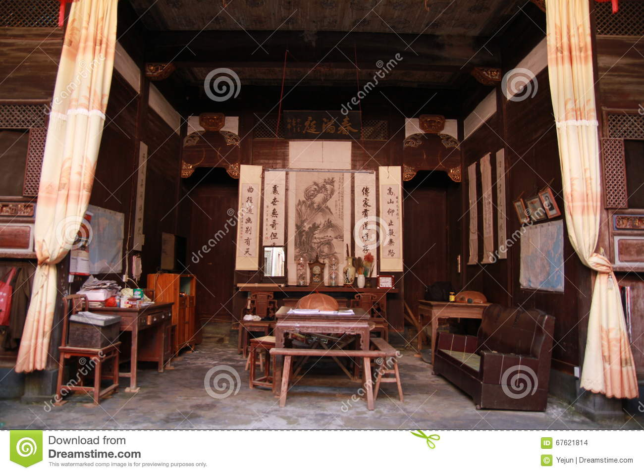 Ancient chinese home interior - Living Room Of An Ancient Chinese Home