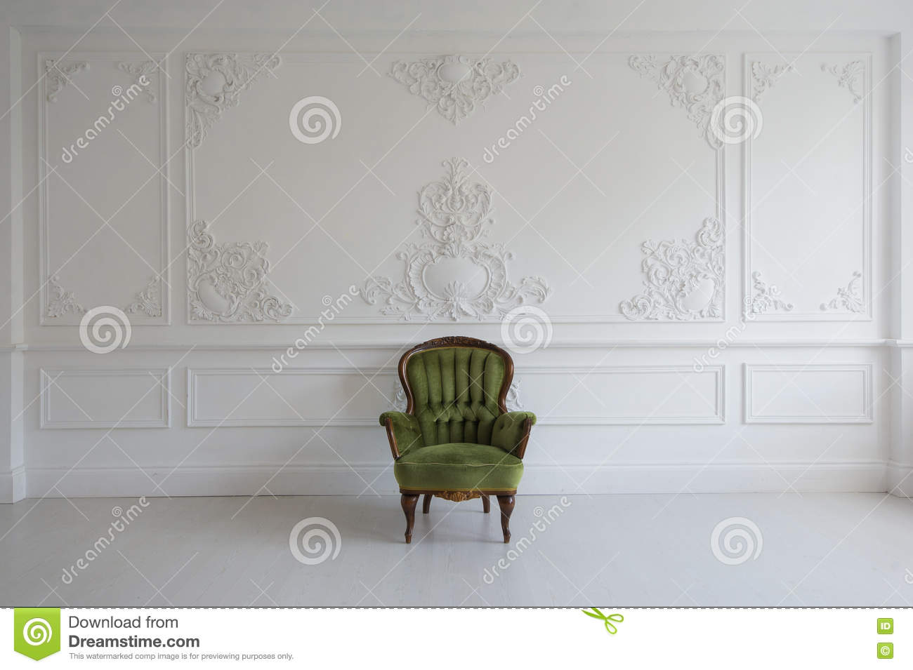 Living Room With Antique Stylish Green Armchair On Luxury White Wall ...