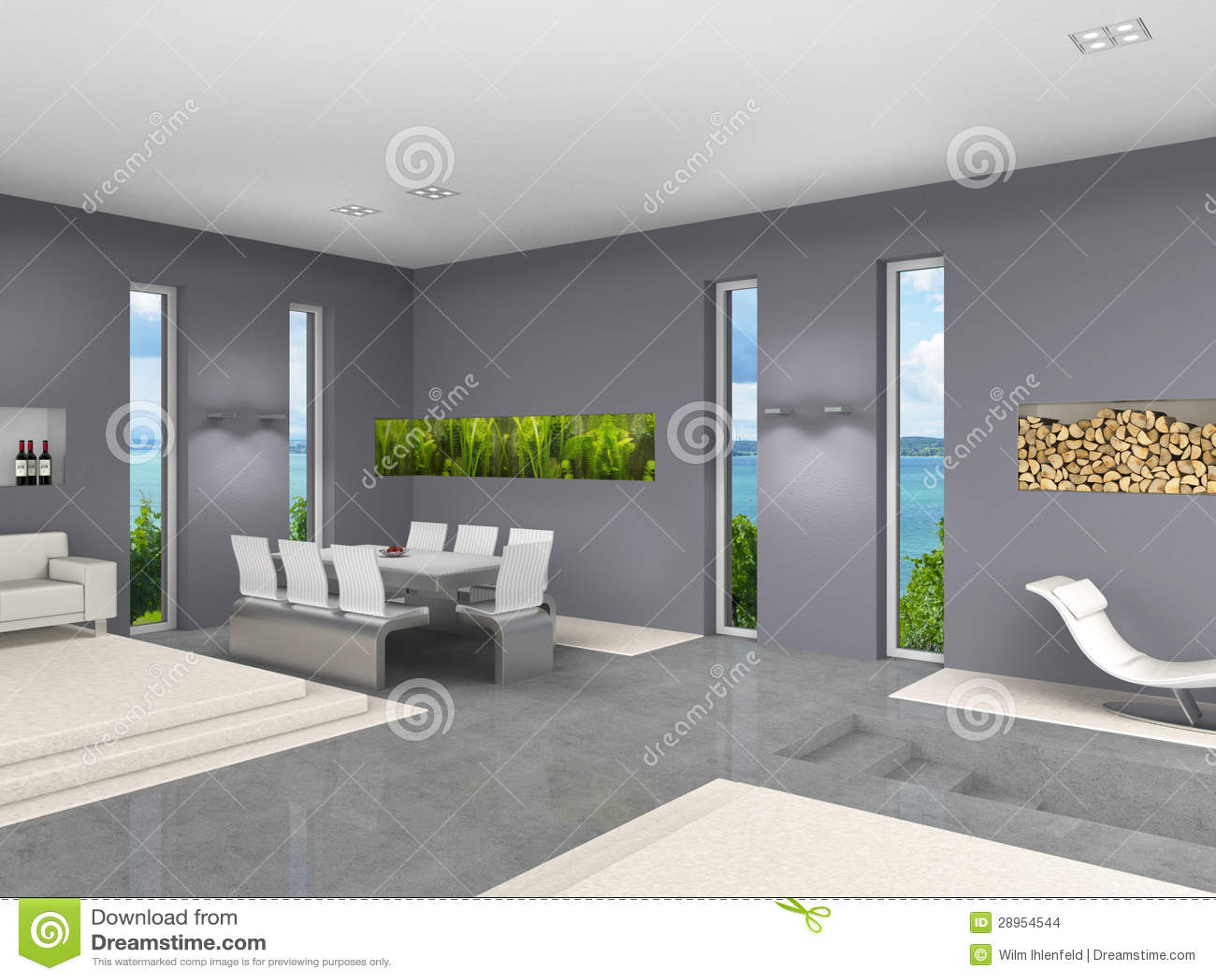 Living Room With Aquarium Stock Images Image 28954544