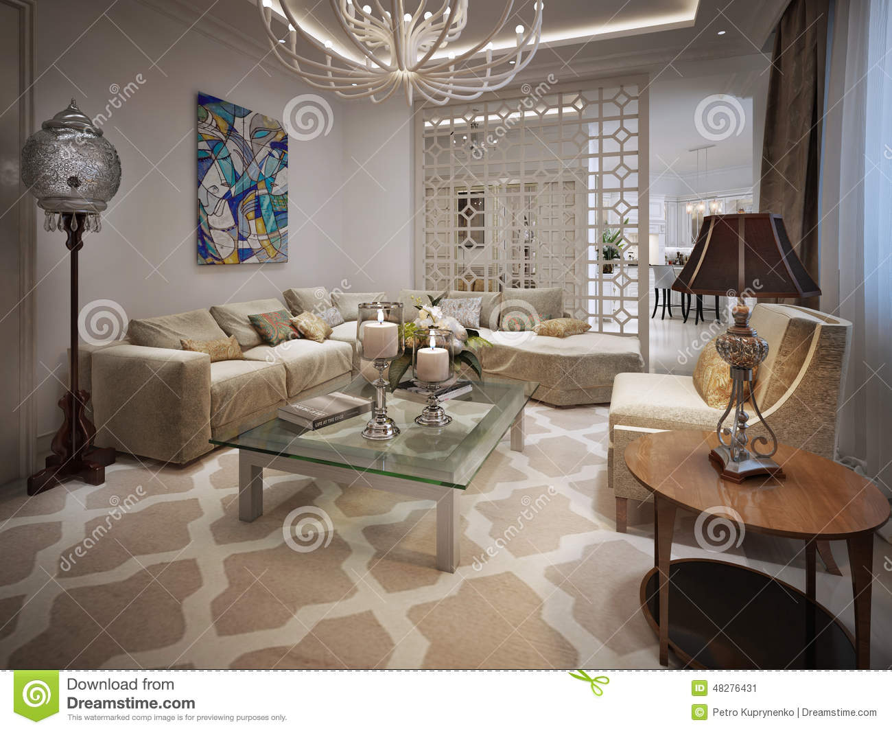 Chandelier On The Ceiling Arabic Pattern Royalty Free Stock Photography