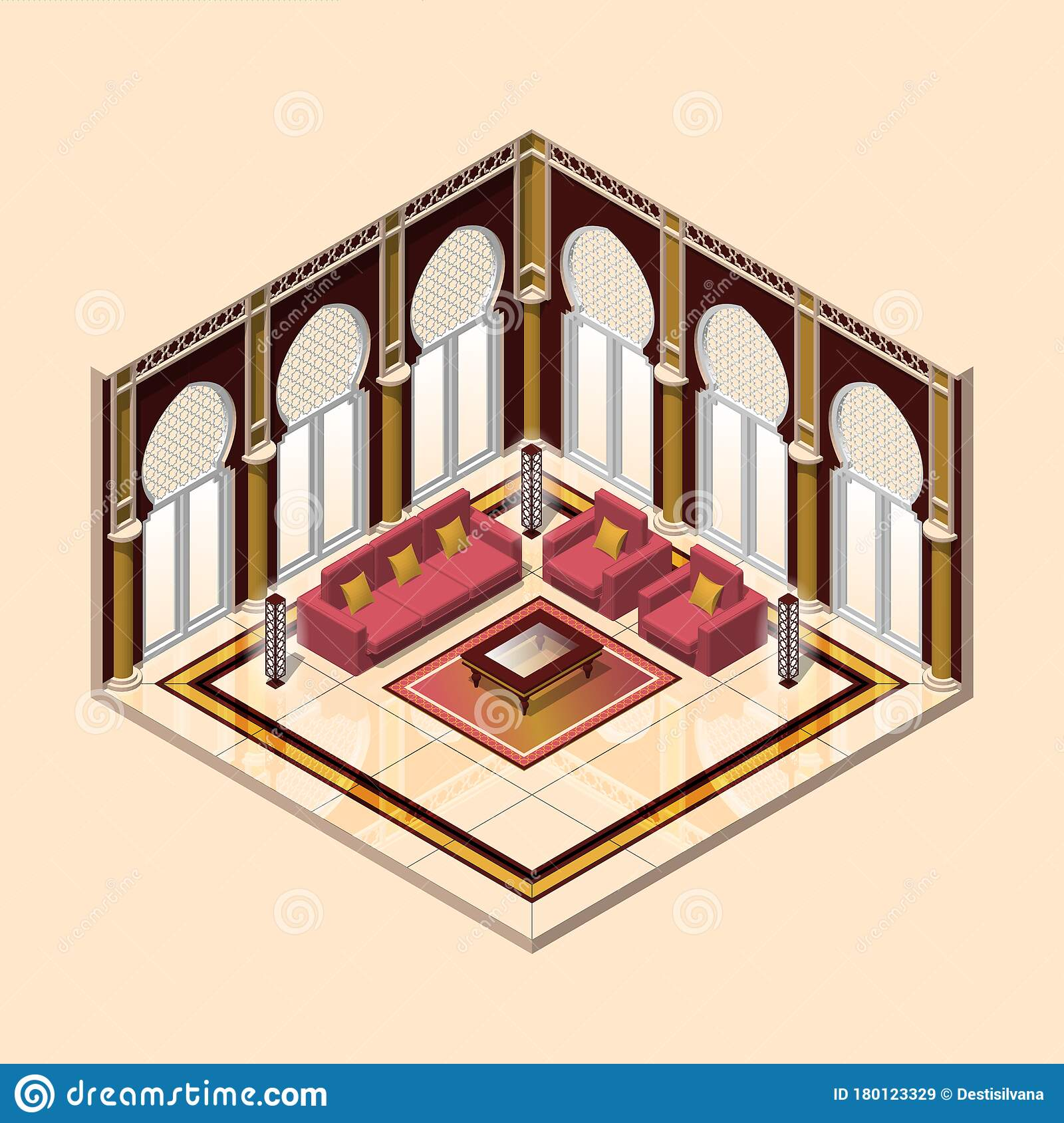 Living Room Arabic Style stock vector. Illustration of ...