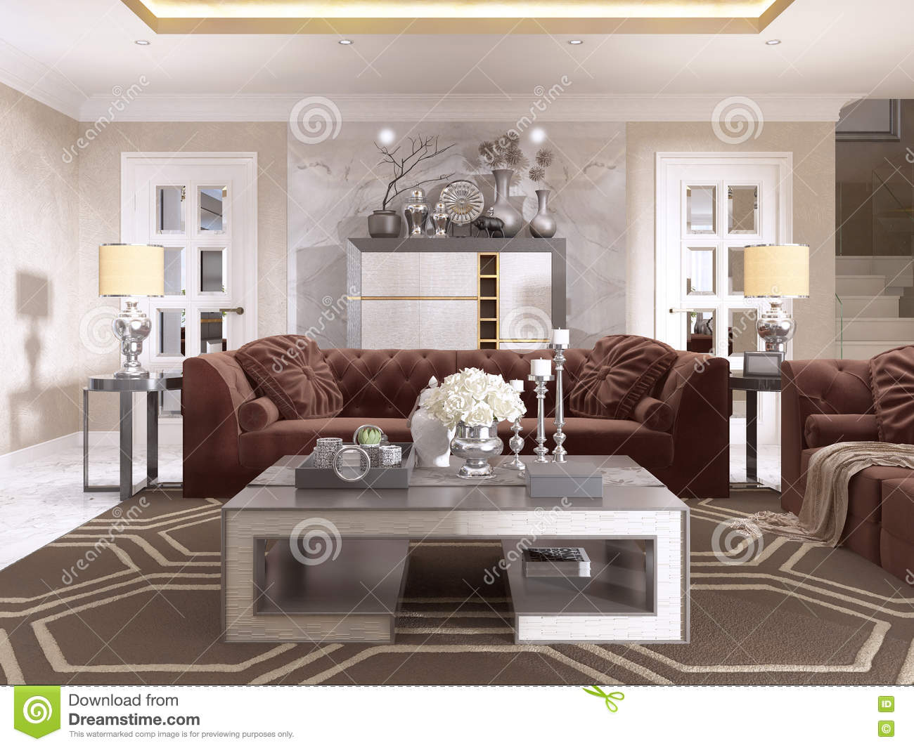 Living room in art deco style with upholstered designer furniture