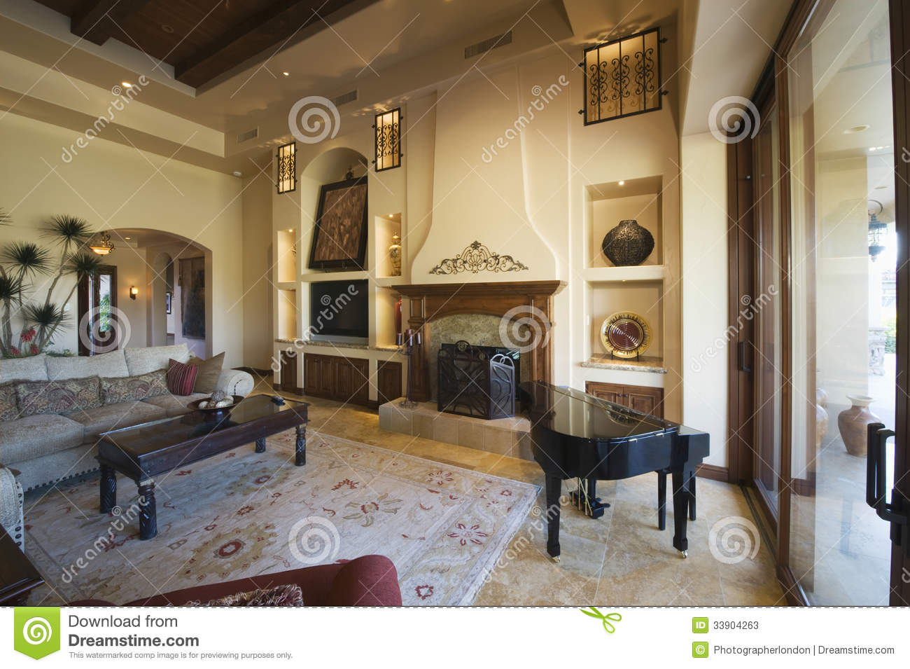 Living Room With Baby Grand Piano At Home Stock Photos