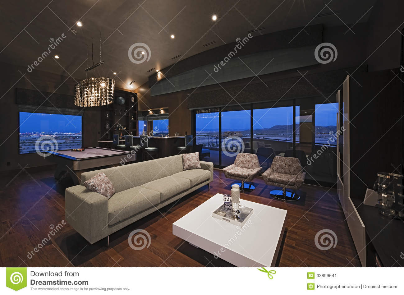 Living Room With Bar Counter And Snooker Table Stock Image
