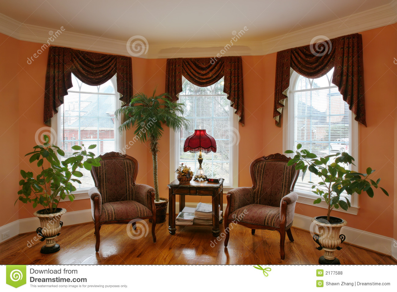 Royalty Free Stock Photo. Download Living Room With Bay Window ... Part 51