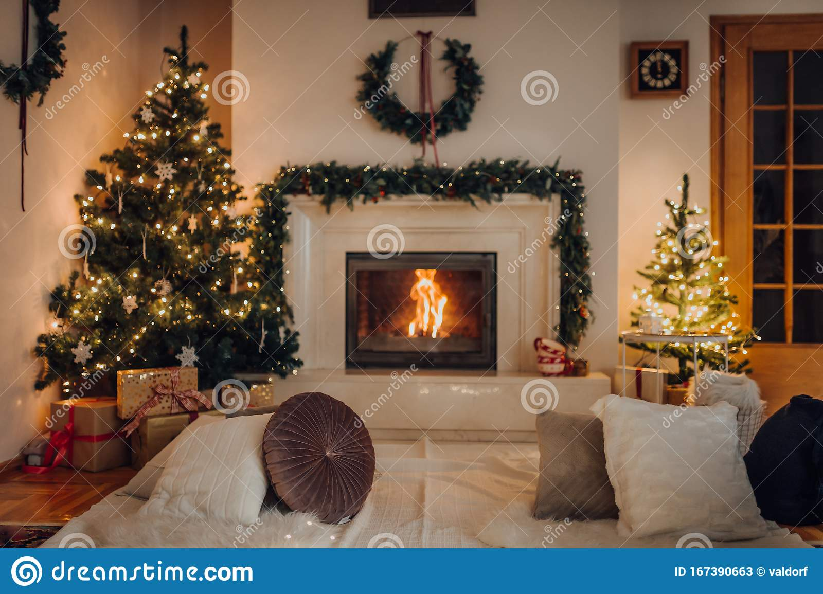 Living Room With Beautiful Fireplace Decorated For Christmas Stock Image Image Of Indoors Decor 167390663