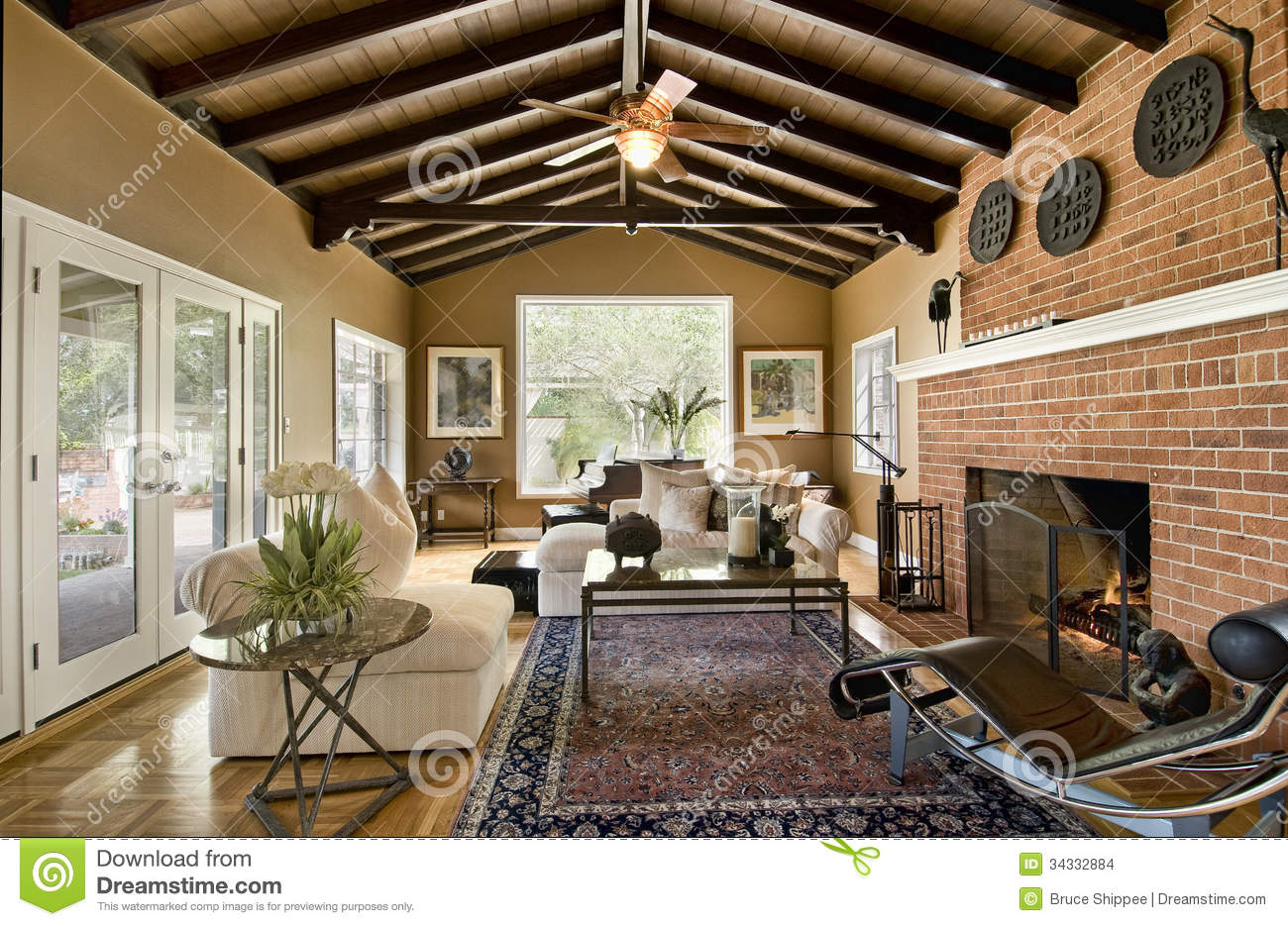 Brick Doors Fan Fireplace Floor French Room