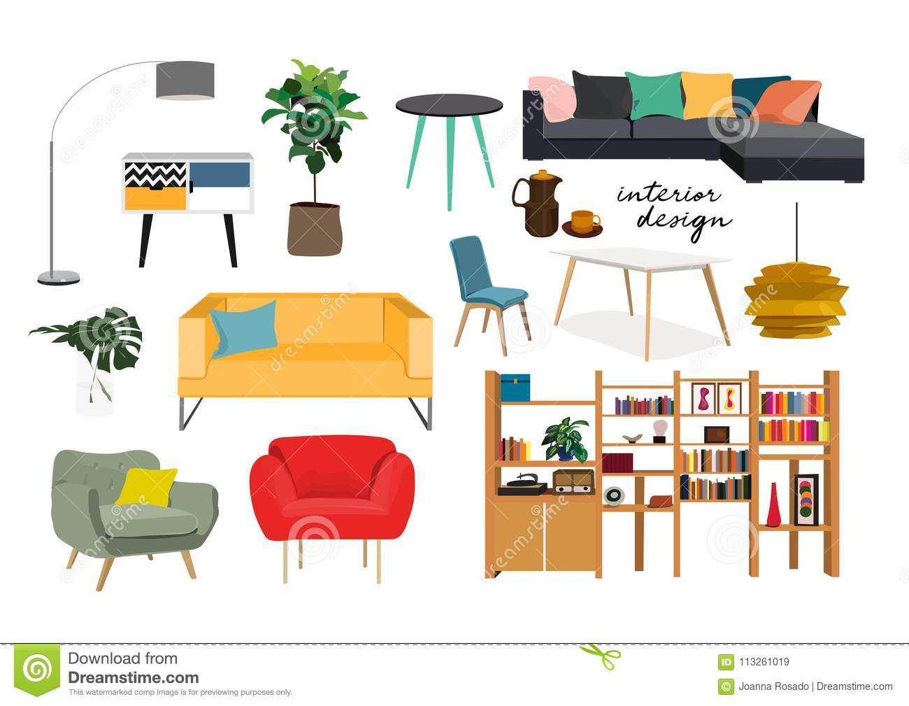 Furniture Collection. Hand Drawn Interior Design Elements. Stock ...