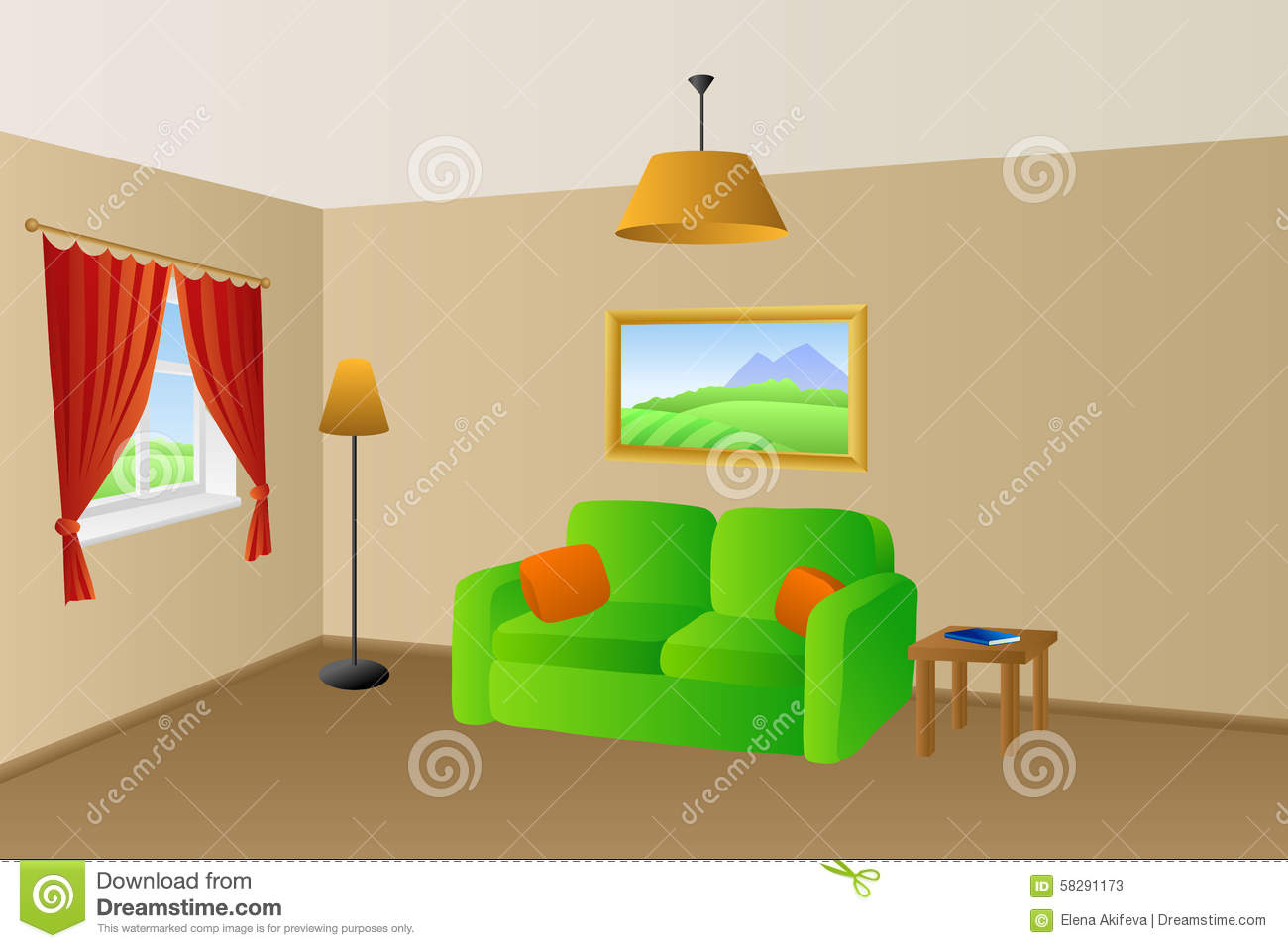 living room with orange sofa stock image - image: 8815301