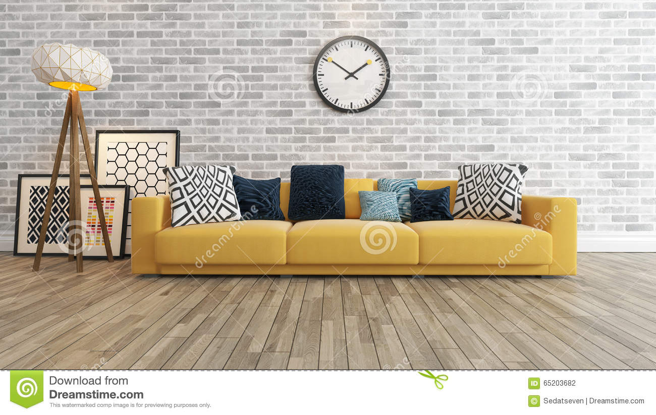 Living Room With Big Watch On White Brick Wall 3d Rendering Stock Illustration Illustration Of Floor Indoors 65203682