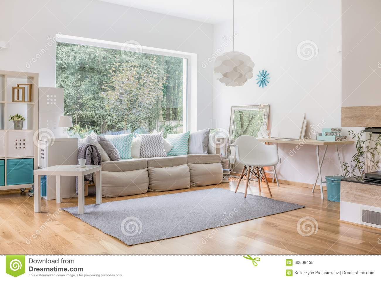 Living room and big window stock image. Image of small - 60606435