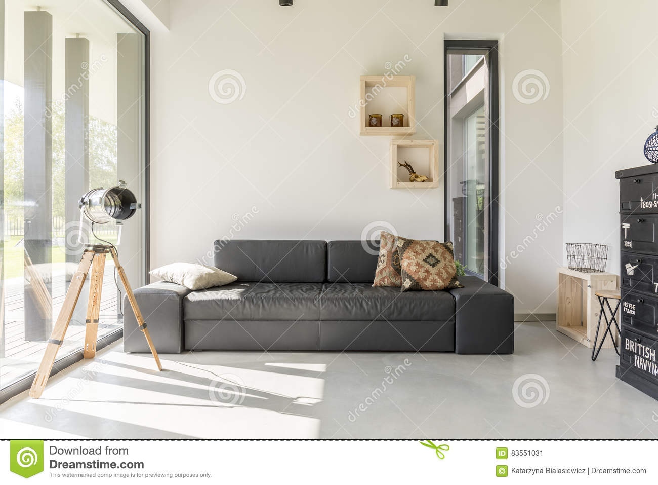Living Room With Black Furniture Stock Image - Image of bright ...
