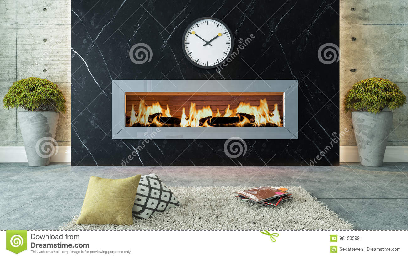 Living Room With Black Marble Fireplace Decor Design Stock