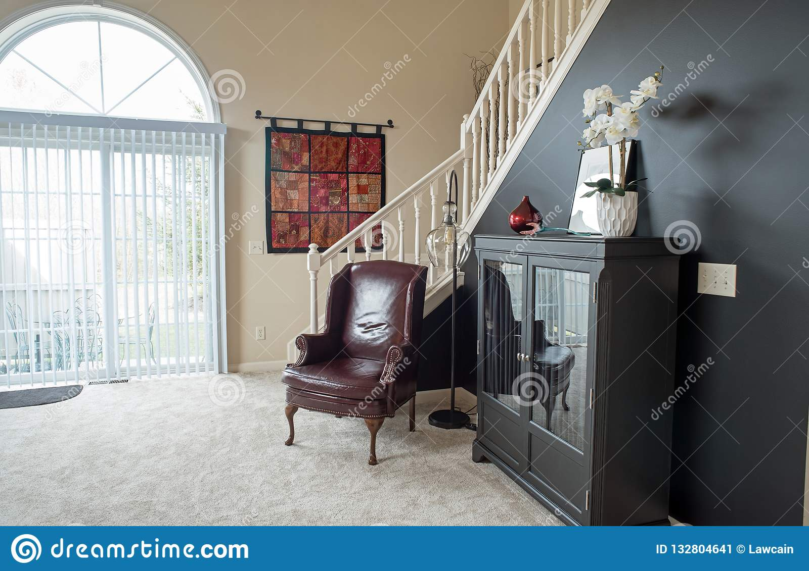 Living Room In Black Amp Red Decor Editorial Photo Image