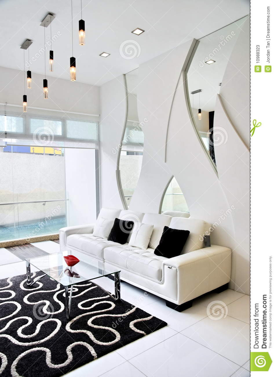 Living room with black and white color theme