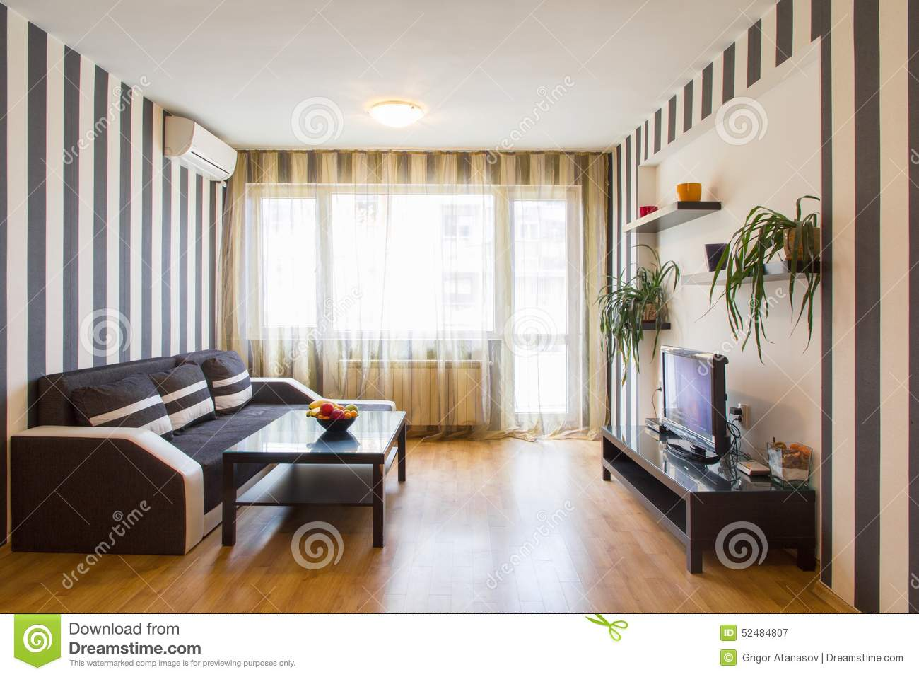 Living Room With Black And White Striped Walls Stock Photo Image 52484807