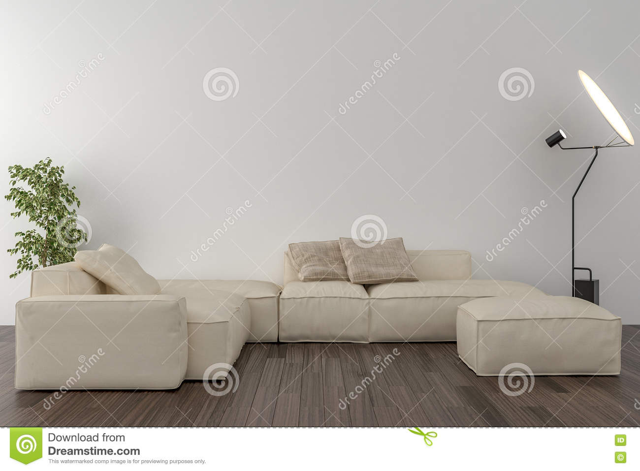 Living Room - Blank Wall In The Background Stock Illustration ...