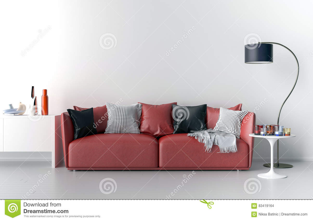Living Room With Blank Wall In Background Stock Illustration