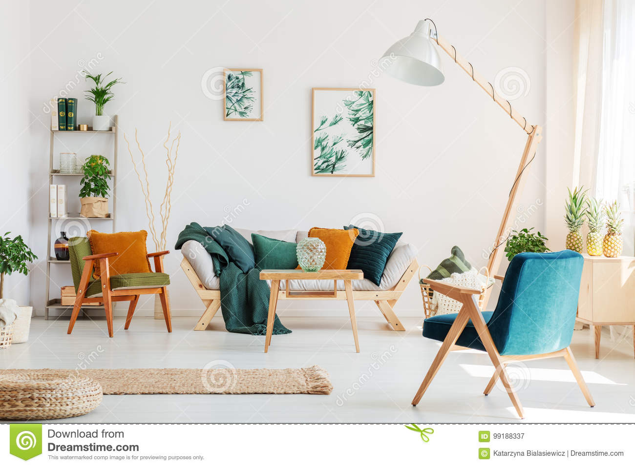 Living room with blue chair
