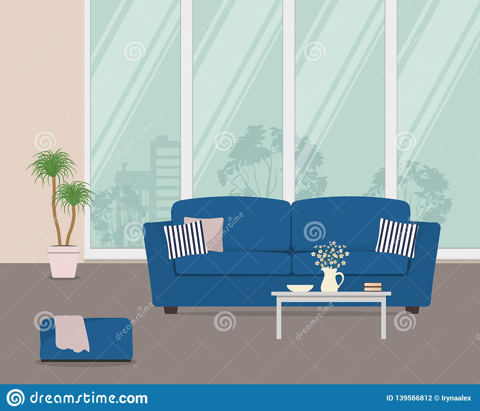 Stupendous Living Room With Blue Sofa And Pillows Stock Vector Ocoug Best Dining Table And Chair Ideas Images Ocougorg