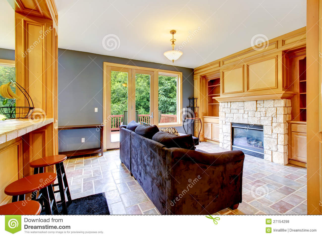 Living Room With Blue Walls Fireplace Royalty Free Stock