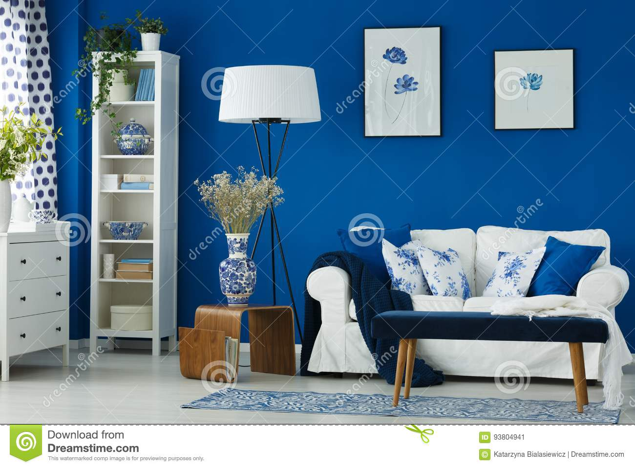 Living Room With Blue Walls Stock Image - Image of sofa ...